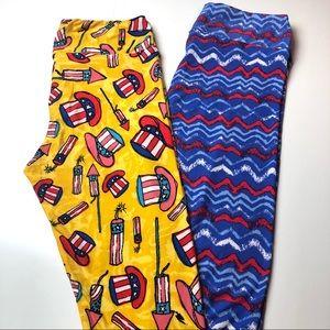 2 pair LuLaRoe TC Leggings - patriotic